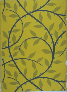 Sidewallm 'Leaf and Branch' | France, 1920 | Block-printed on paper | A stylized continuous vine in deep blue with mustard-colored leaves and green berries. Printed in mustard, deep blue and gray on lemon field | Cooper-Hewitt