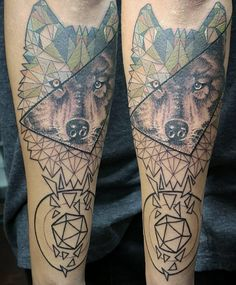 Some awesome geometric wolf action here the other day • sick piece started by @earo35 • can't wait to see it finished!