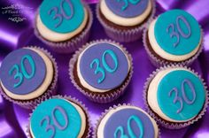 A Touch Of Style Events 's Birthday / Purple and Teal - Photo Gallery at Catch My Party Adult Birthday Party, 30th Birthday Parties, Birthday Party Decorations, Birthday Ideas, 18 Cake Topper, Fondant Cupcake Toppers, Peacock Cupcakes, Anniversary Dessert, Fondant Numbers
