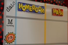 Daily planner board ideas to stay organized. Head back to school with a Science Superheroes Classroom Reveal, checkout organization ideas and decorating tips perfect for any superhero theme. ~Simply Sprout  http://www.orientaltrading.com/blog/educate/science-superheroes-classroom-reveal/