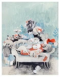 Femme et chats, Isabelle Arsenault