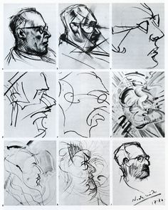Series of self-portraits made by a man under the inlfuence of LSD for a medical experiment. Reproduced from Triangle, The Sandoz Journal of Medical Science