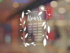 Items similar to Business hours Store Hours Window Decal on Etsy Window Mural, Window Signs, Window Decals, Window Writing, Vitrine Design, Store Window Displays, Retail Displays, Merchandising Displays, Illustration Noel