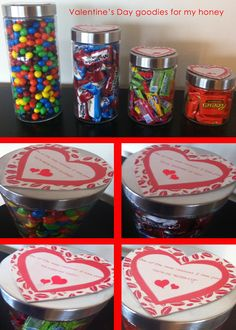 This was my Valentine's Day creation for Mark this year.  I bought his favorite treats and put them in jars for him at work.  Everyone can use yummy treats once in awhile at work! :)