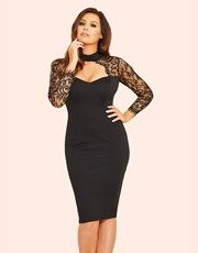 This figure-hugging midi dress from Jessica Wright is essential for your new season wardrobe. Featuring a sweetheart neckline, lace detailing and a bodycon fit, just style with strappy heels for a flawless finish.