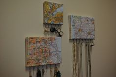 Another idea for displaying state jewelry.  Decoupage maps on canvas and add hooks.
