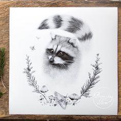 Raccoon Woodland Art Print 12x12 by BurrowingHome on Etsy, $40.00
