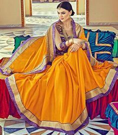 Orange Satin Silk Saree ,Indian Dresses - 1