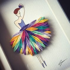 Este arte enclavijada papel llamado ¡ Quiero bailar con alguien! es hecho a mano de colores tiras de papel.  Se coloca en un marco de profundo.
