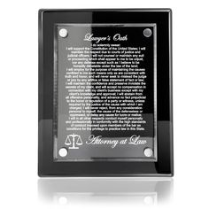 Amazon.com - Kate Posh - Lawyer's Oath - Attorney at Law Piano Finish Keepsake (Black) - Decorative Plaques