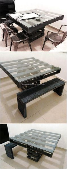 Turn your raw unused pallets into useful wooden recycled table with little effort and cost and serve your need for seating and serving inside or outside your home. A Dark color gives it a more finished look along-with a square glass on the top of the table.