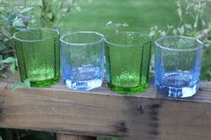 4 retro old fashion bar cart tumblers- green and blue paneled whiskey glasses - Libbey low ball bar glasses , tableware and barware glasses