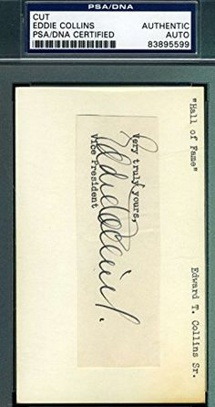 EDDIE COLLINS 3X5 INDEX CUT PSA/DNA SIGNED AUTHENTIC AUTOGRAPH -- To view further for this item, visit the image link.