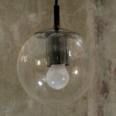 Design. Ceiling glass globe lamp. Raak Amsterdam. 1970-1975.