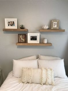 Floating Shelves Bedroom Wall Home Decor. Awesome Floating Shelves Bedroom Wall Home Decor. 3 Shelves Above Bed White and Grey Bedroom Fun Room Bedroom Wall Decor Above Bed, Floating Shelves Bedroom, Home Decor Bedroom, Bedroom Fun, White Bedroom, Bedroom Ideas, Bedroom Wall Shelves, Decor For Above Bed, Bed Wall