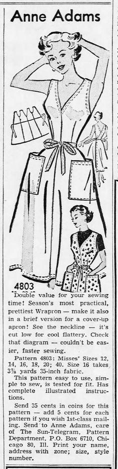 1950s Wrapron Sundress Pattern Anne Adams 4803 by CynicalGirl