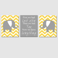 yellow/grey elephants and chevron