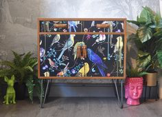Upcycled Vintage Mid Century G Plan Teak Drinks Cabinet, Retro Hairpin Legs, Birds Sinfonia Decoupage, TV Cabinet Upcycled Vintage, Retro Vintage, Tallboy Chest Of Drawers, Double Swing, Funky Decor, Teak Oil, Danish Style, Drinks Cabinet, Dog Ornaments