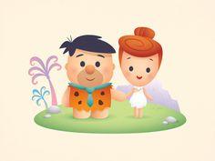 Modern Stone Age Romance kawaii cute illustration character design jerrod maruyama jmaruyama squaredco cute couples wilma fred the flintstones Anime Chibi, Chibi Kawaii, Kawaii Disney, Cute Disney, Disney Drawings, Cute Drawings, Tsumtsum, Cute Images, Disney Cartoons