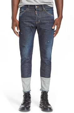 Dsquared2 Pieced Raw Hem Jeans (Blue) available at #Nordstrom