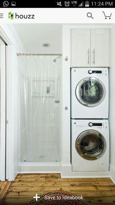 Idea • Put washer & dryer in master bathroom.