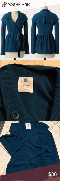 """Anthropologie Sparrow Konnichiwa Sweater Coat Anthropologie Sparrow Konnichiwa Sweater Coat Jacket Capelet Boiled Wool Teal . See photos for flaws.  Under arm to user arm 21"""". And Length 27"""". Anthropologie Sweaters Cardigans"""