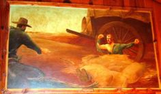 Artwork commissioned by the Ortmans depicting white outlaws killing Pat Hennessey