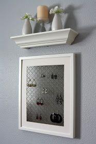 Frame + decorative radiator cover (home depot) = Jewelry organizer