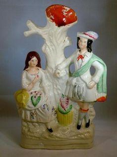 ANTIQUE 19TH C STAFFORDSHIRE POTTERY SPILL VASE, FIGURINE | eBay