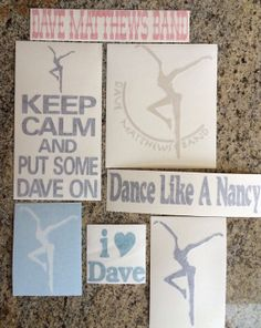 DMB Dave Matthews Band Decal Set of 7 stickers Vinyl by nockonwood, $21.00