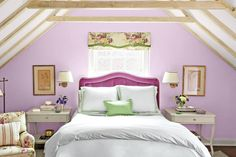 "Pick a Peaceful Palate - 10 Tricks to Make Your Bedroom Feel Extra Cozy - Southernliving. ""Lavender creates calm and tranquil spaces,"" says designer Lindsey Coral Harper. ""It's also light and airy, which helps because this room could feel like it doesn't have a ton of ceiling height. Here, I complemented the lavender with pops of green, but gray and aubergine also make great partners."" (Pictured here: Pale Iris, 2073-60"