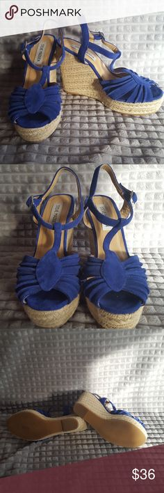 Sale! Steve Madden Blue Wedge Espadrilles 6.5 Size 6.5 Pre loved, still in good condition 3 inch heel Suede upper Rubber outer Steve Madden Shoes Wedges