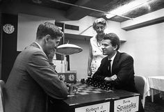 Jacqueline Piatigorsky with Bobby Fischer and Boris Spassky Following a Game in the 1966 Piatigorsky Cup Tournament 1966