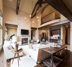 Modern rustic living room with a cozy, warm appeal [Design: Carpet Direct Kansas City]