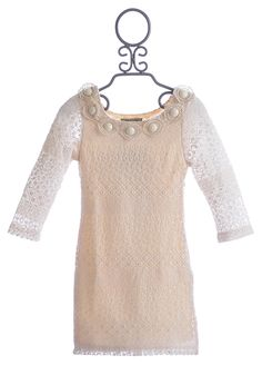 Elisa B Cream Crochet Lace Dress for Tweens $86.00. Love this for Abby.