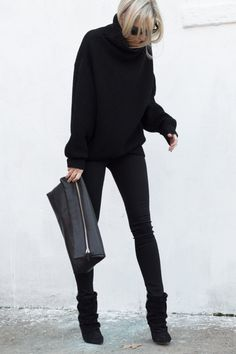 Aritzia PRADISE MINE HIGH-RISE JEGGING O/D BLACK (similar here)| Aritzia Wilfred Montpellier Sweater Black | Aritzia Six Eleven Huggable Clutch Black (similar here) | Isabel Marant Andrew Suede and Leather Ankle Boots Black