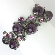 Amethyst, pink tourmaline & silver leaf link bracelet by Elsa Schiaparelli