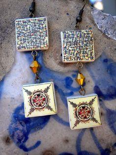 Portugal  Antique Tile Replica Earrings  Aveiro ART DECO  by Atrio,