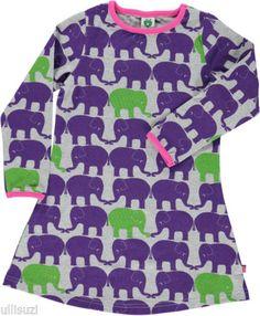 Smafolk-Danish-Kids-Fashion-L-S-Dress-Twin-Elephants-grey-NEW