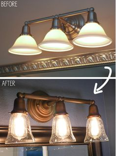 Yess Bathroom Lights bathroom vanity light diy makeover - i built a thin wood box to
