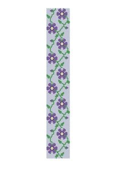 Peyote stitch pattern purple flower cuff bracelet by RebekeJewelry