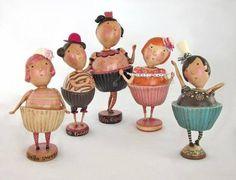 Cupcake doll sculptures