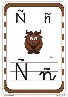 abecedario en color ñ School Games, School Projects, Activities For Kids, Alphabet, Preschool, 1, Comics, Learning, Spanish