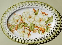 Artist Judith Standing Western Australia Porcelain Platter, Magnolia Grandiflora