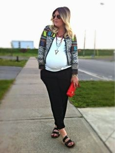 Botswana | Liv.vie In Love Billabong Botswana jacket, black pleated pants, white ribbed tank, (faux) Birkenstocks, red wallet clutch, and layered necklaces. Maternity style, maternity fashion, pregnancy style, pregnancy fashion, baby bump style, baby bump, 32 weeks, ootd, wiwt, blogger, fashion stylist Pregnancy Style, Pregnancy Fashion, Maternity Style, Maternity Fashion, Baby Bump Style, Birkenstocks, Pleated Pants, Baby Bumps, Fashion Stylist