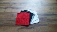 Wash Cloth - Dish Cloth - Dish Rag - Wash Rag - Loom Knit (White Red Grey and Black Set of 5) by LoomKnittedHats #etsy #etsyseller #loomknittedhats #shopping #acrylicyarn #cottonyarn