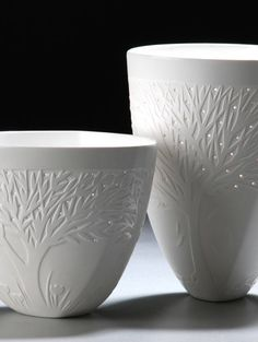 Martha Zettler. Bone China, sandblasted and pierced