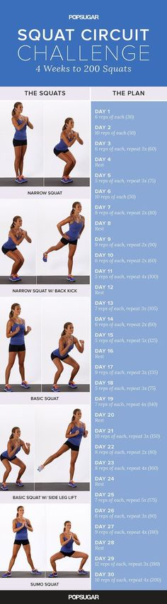 Give your butt some attention and try our four-week squat challenge! Learn the specifics on each style of squat included in this circuit, then put your knowledge to practice with this plan. #SquatsAndMore