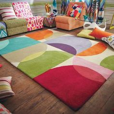 The Scion Kaleido Rug features interlinking abstract circles within a graphic grid design. The pattern adds vibrant splashes of colour to any interior. How To Make Curtains, Made To Measure Curtains, Contemporary Rugs, Modern Rugs, Tapis Design, Interior Rugs, Oldschool, Hand Tufted Rugs, Geometric Rug