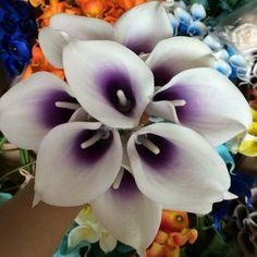 Real Touch Purple White Calla Lilies Bouquet Picasso Purple